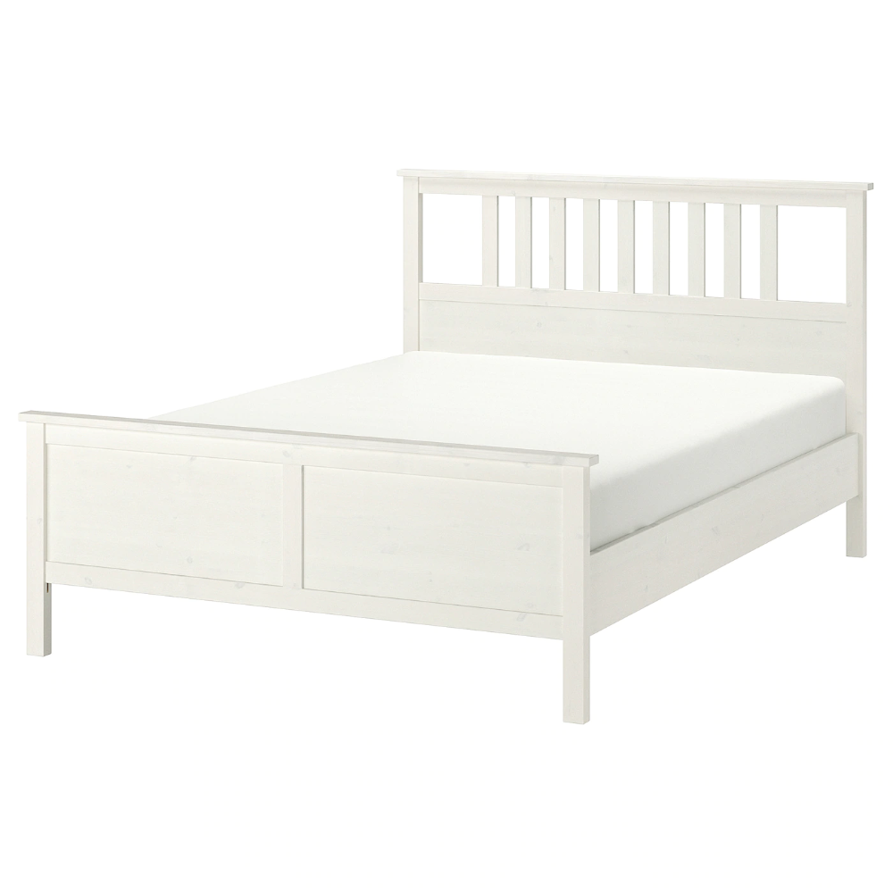 Hemnes Bed Frame White Stain Luroy Full With Images Bed
