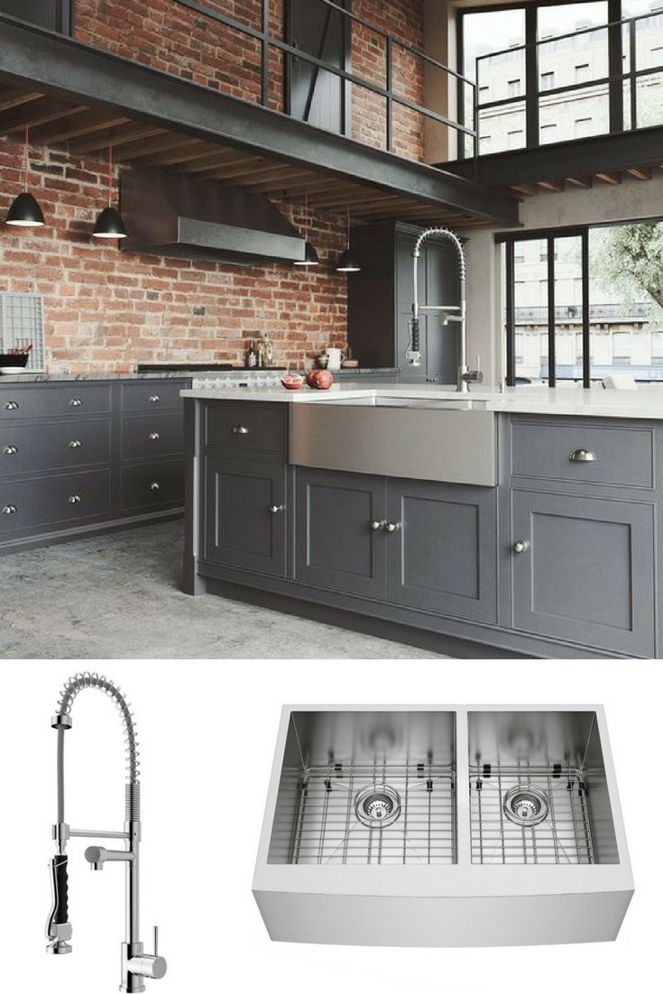 Let S Fall In Love With The Modern Industrial Kitchen Complete Your Kitchen With The Vigo Zurich P Industrial Kitchen Design Kitchen Faucet Industrial Kitchen