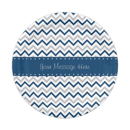 Chevron Paper Plates Navy u0026 Grey  sc 1 st  Pinterest & Chevron Paper Plates Navy u0026 Grey | Navy Chevron Nursery Room Cloud ...