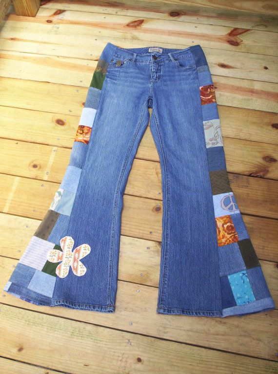 CUSTOM BELL BOTTOMS You Send Yours Hippie Patchwork JeAnS ...