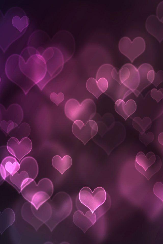 Bokeh Purple Hearts Iphone Wallpaper Heart Iphone Wallpaper