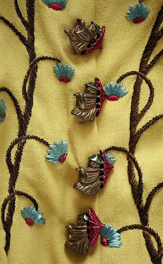 * Evening ensemble rayon, silk, metallic thread, metal, plastic     1937–39  for Bonwit Teller & Co. (American, founded 1907) Elsa Schiaparelli (1890–1973)