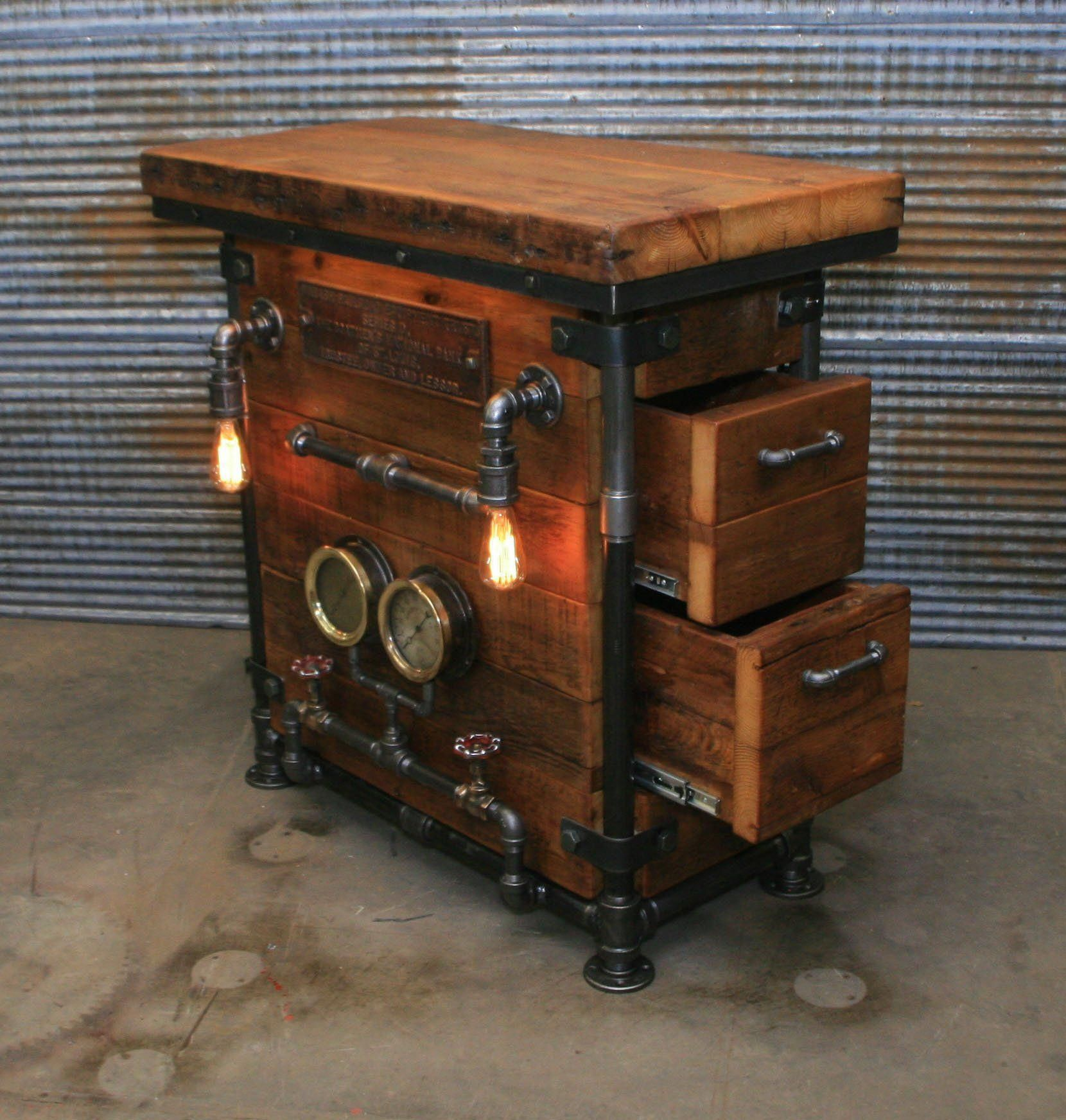 Steampunk Industrial Pub Or Bar Table Barnwood Steam Gauge