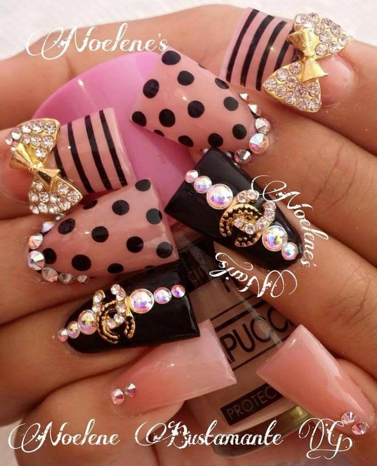 Bling nail art design on flare tip nails   duck feet nails   Nail ...