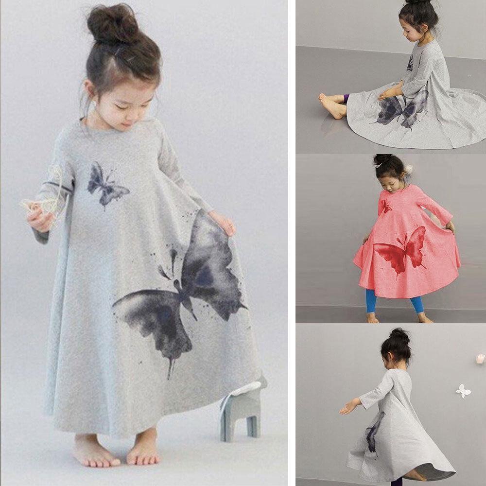 autumn spring girls long sleeve butterfly print dress kid
