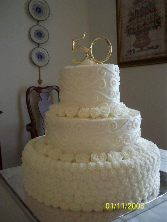 50th Wedding Anniversary Cake3 Tiered Cake Almond Pound Cake Rosettes And Swirls