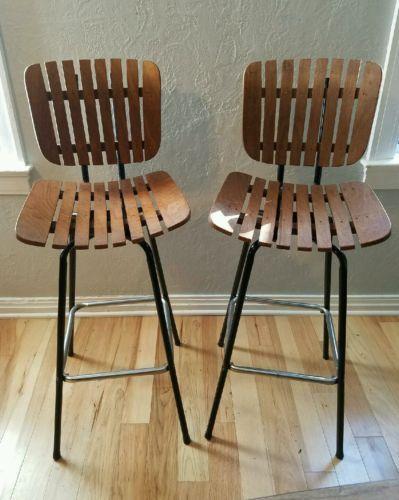 Vintage Mid Century Modern Wood Slat Swivel Bar Stool Chair