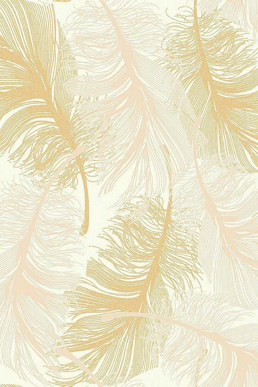Yellow & Rose Gold Feathers Золотой фон, Текстуры