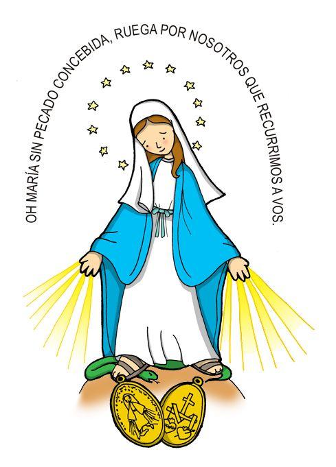 Dibujos Para Catequesis Nuestra Senora De La Medalla Milagrosa Virgen Caricatura Ilustracion Religiosa Imagenes De La Virgen