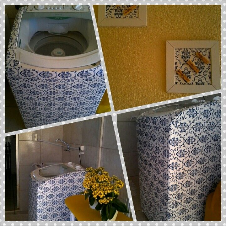 Washing Machine Covered With Contact Paper. Laundry Decor