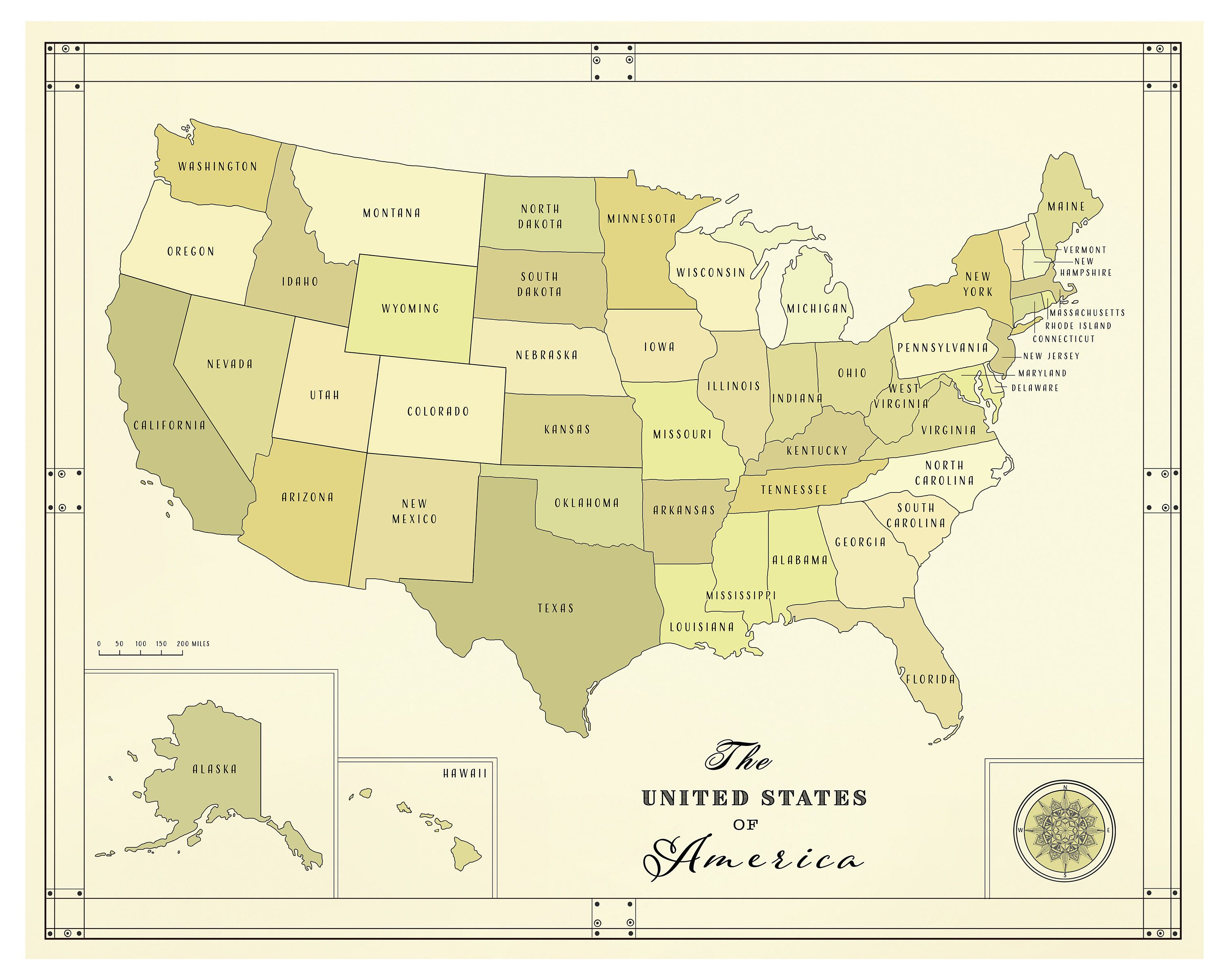 United States of America [vintage inspired] State Boundaries ...