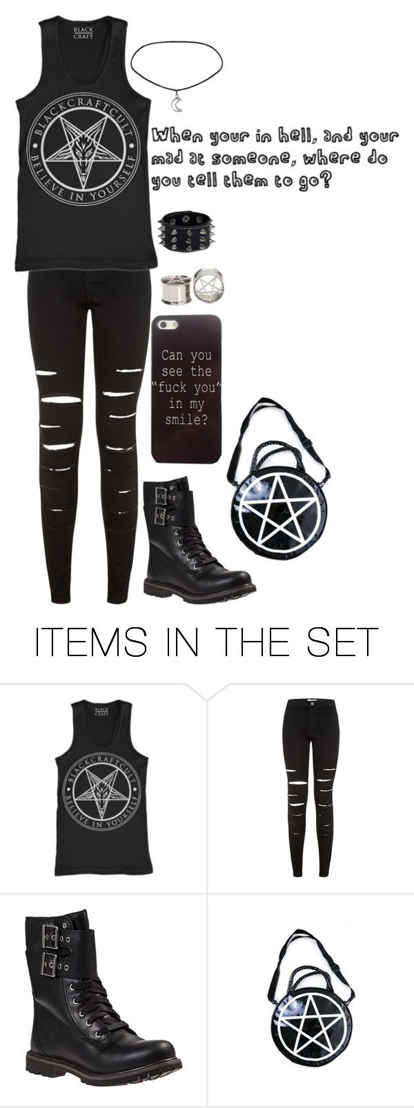 """When you're in Hell, and you're mad at someone, where do you tell them to go?"" by chuckygal-mp ❤ liked on Polyvore featuring art, black, Dark, quote and hell"