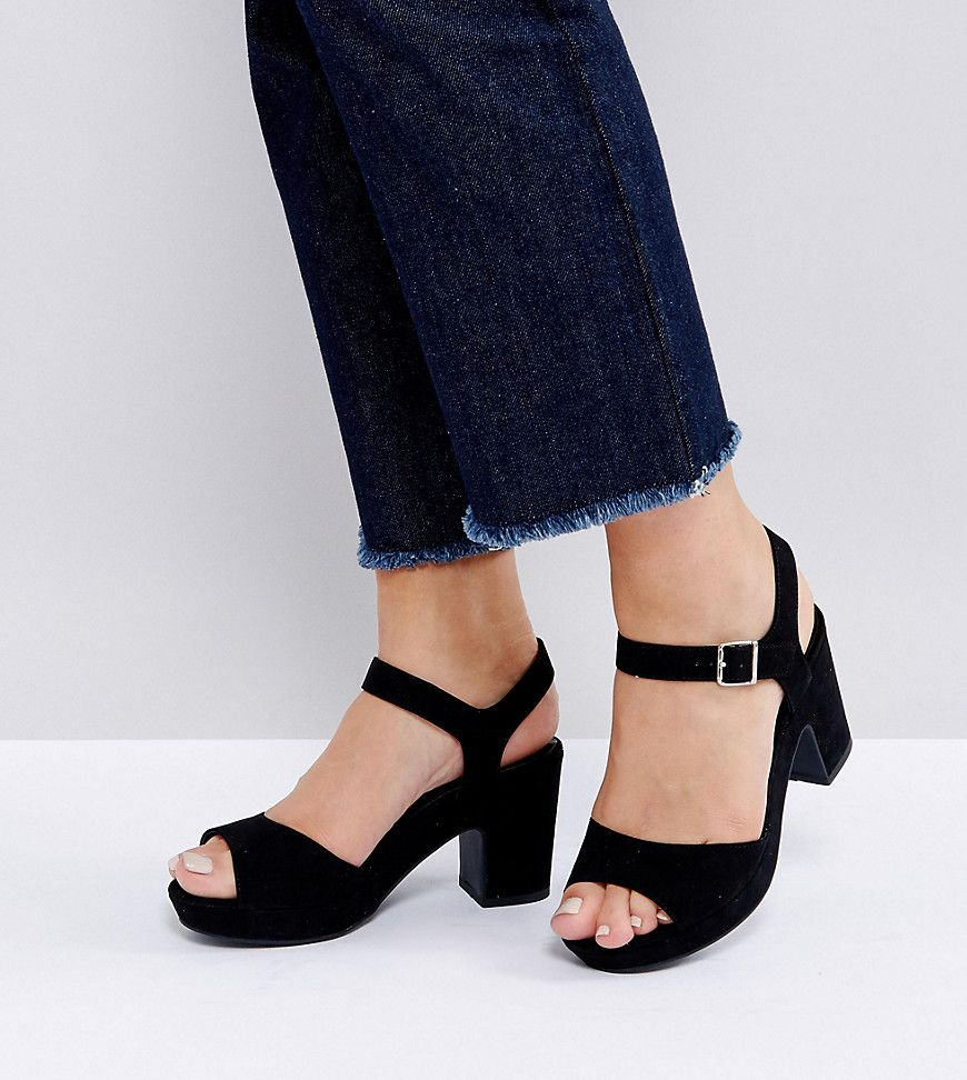 Cute Bottom Of Jeans And Cute Low Chunky Heeled Sandal Black Dress Shoes Womens Sandals Heels Ankle Strap Heels [ 972 x 870 Pixel ]