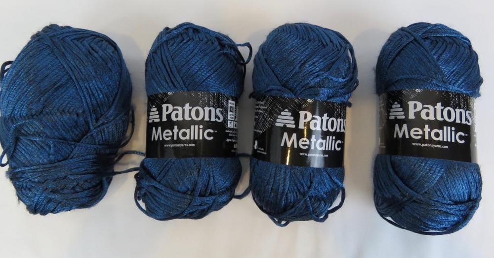 Lot of 4 Patons Metallic Yarn Skeins Blue Steel Nylon, Ncrylic, Wool ...