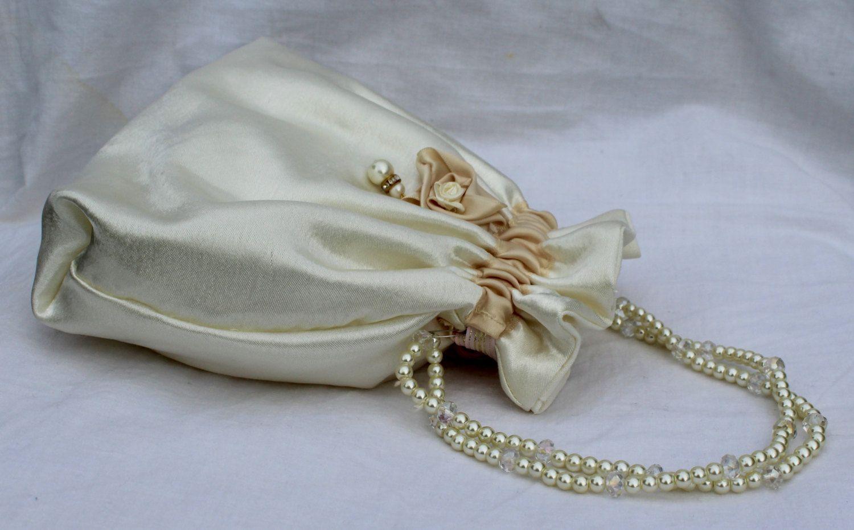 Gold Girls Large Ladies Flowergirl Wedding Handbag Clutch Bag Bridesmaid Prom1