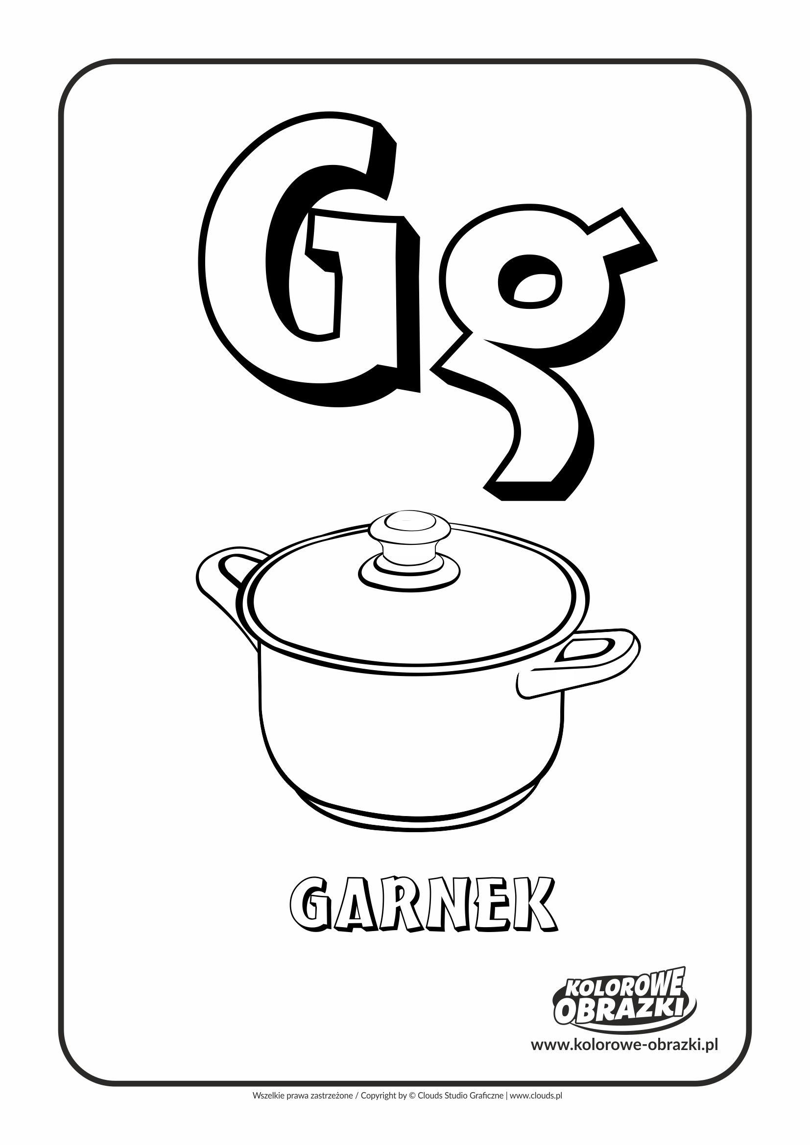 Kolorowanki Dla Dzieci Litery Litera G Kolorowanka Z Litera G