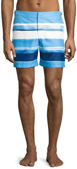 Orlebar Brown Bulldog McGovern Striped Swim Trunks, Blue