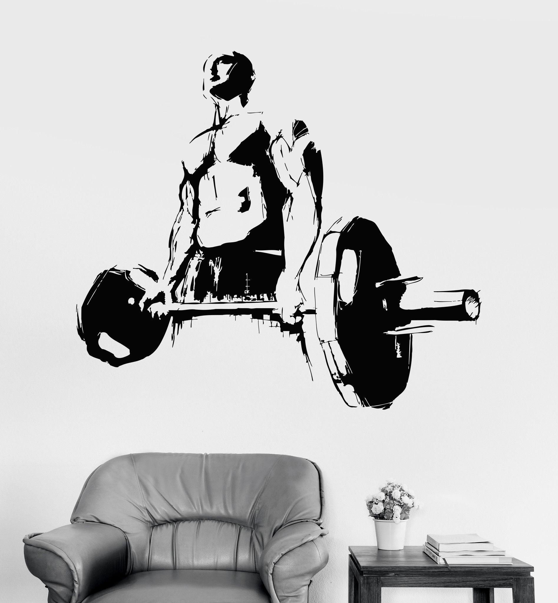 Vinyl Wall Decal Muscled Man Powerlifting Sports Fitness