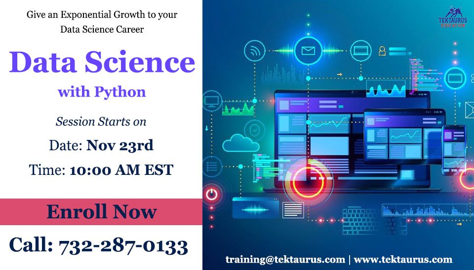 Data Science Training with Python Classroom and Online in Edison Training Session on 23rd Training Features  Advanced Machine Learning  RealTime Industry Projects  100 Jo...