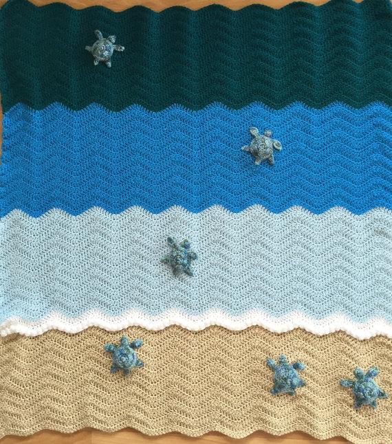 Sea Turtle Blanket Crochet Crib Blanket Baby Blanket Throw Size