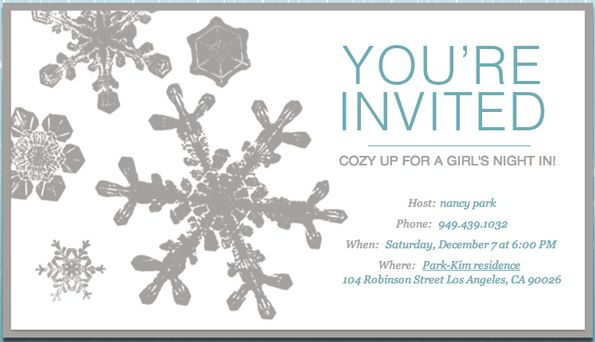 Girls night in dinner party by nancy park explore snowflake invitations and more stopboris Choice Image