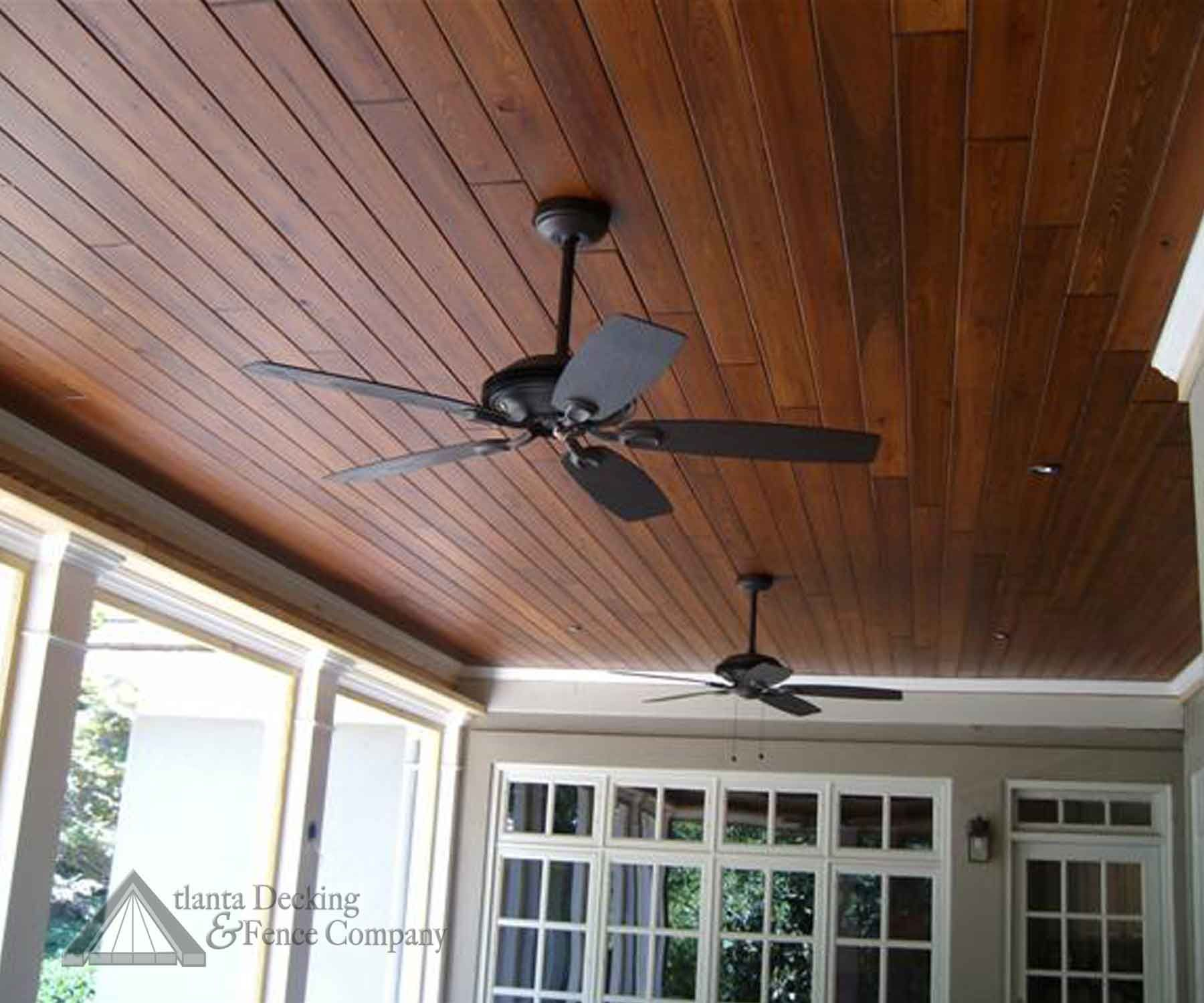 or instead of painting, stain the wood ceiling on the porch - dark