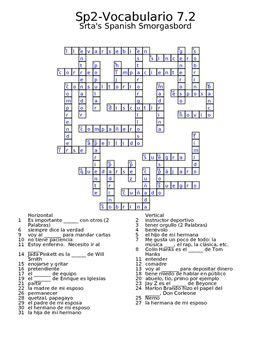 Spanish Avancemos 2 Vocab 7 2 Crossword | Srta's Spanish Smorgasbord