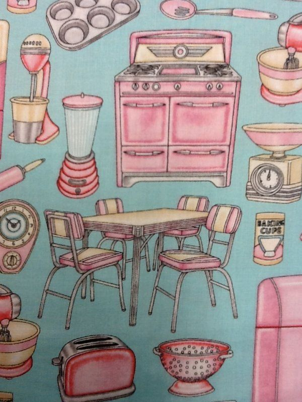 Retro Pink Kitchen Appliances Kitschy Vintage On Aqua