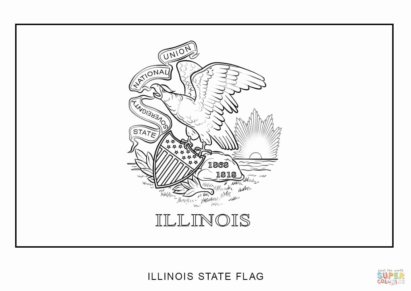 Illinois State Flag Coloring Page In 2020 Flag Coloring Pages