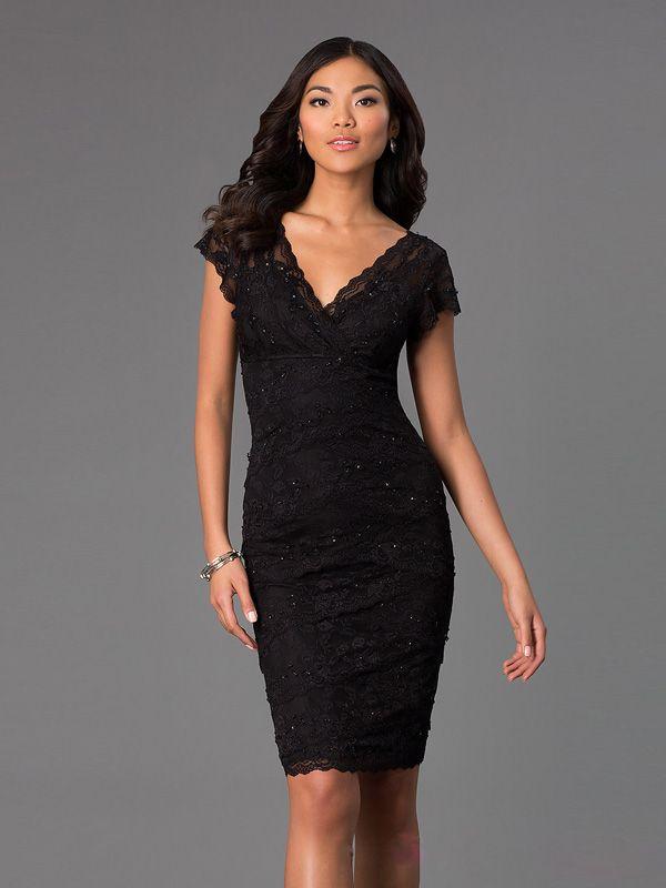robe cocktail noir au genou