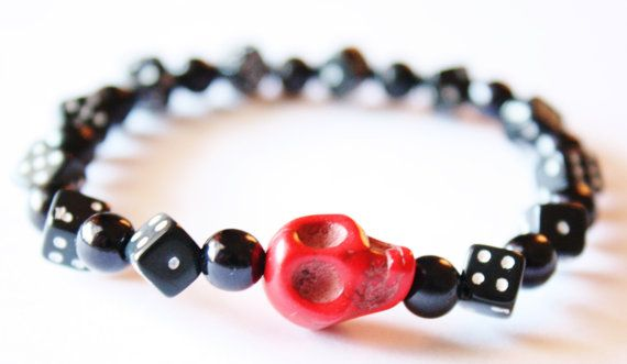 Lucky Red Skull and Dice Beaded Black Bracelet by PoshAdornments