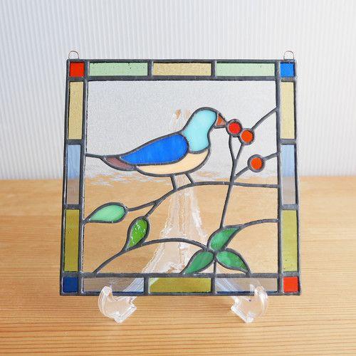 Stained glass mini panel bird 15cm