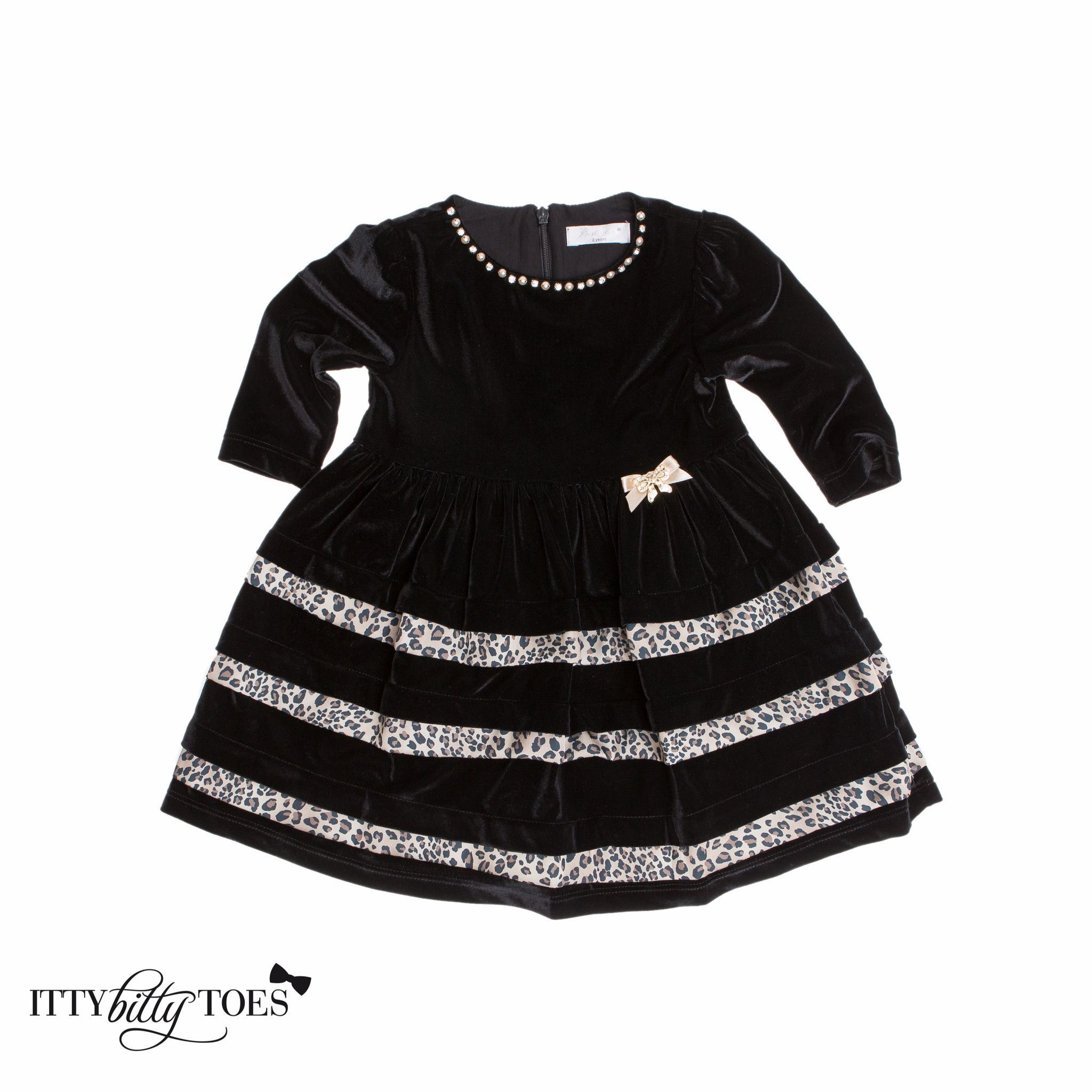 Black velvet u animal print dress animal print dresses black