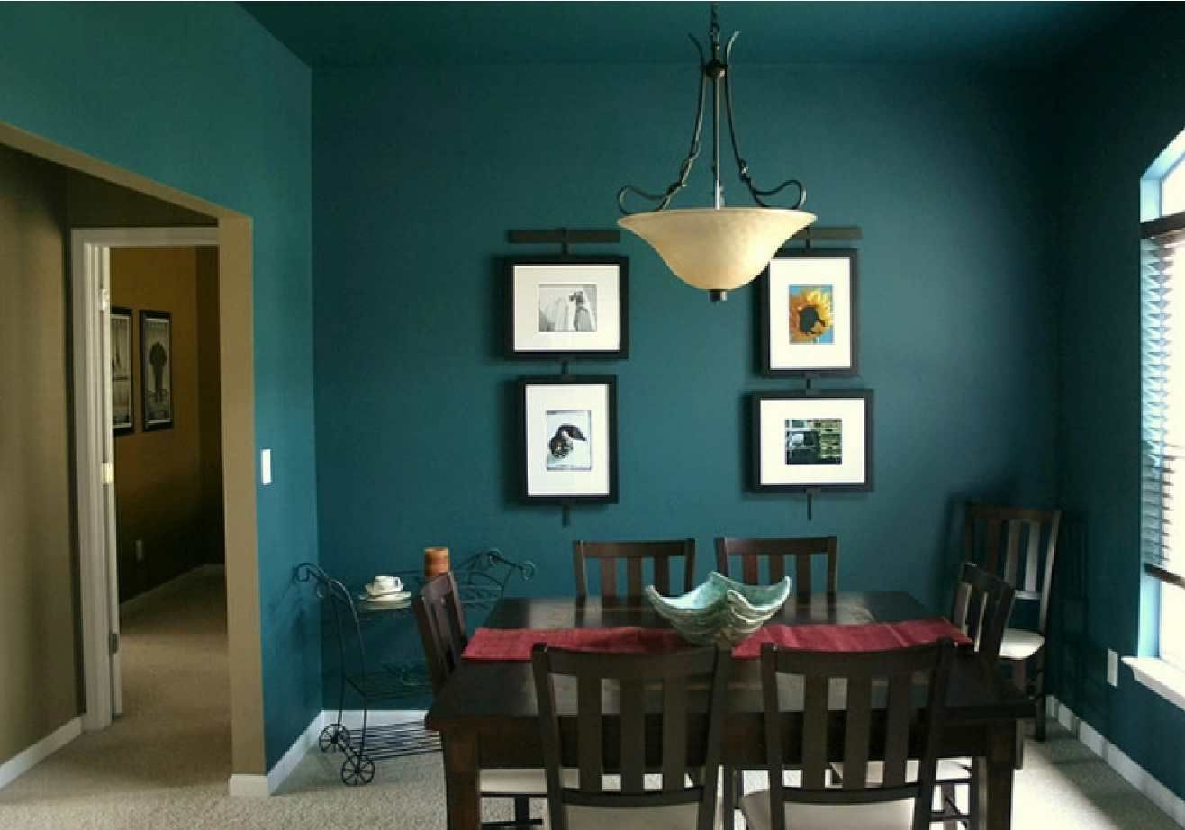 Best Inspiration Dark Green Color Dining Room Interior