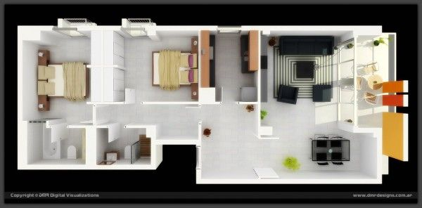long narrow 2 bedroom 3d floor plan with outdoor lounge | 3d