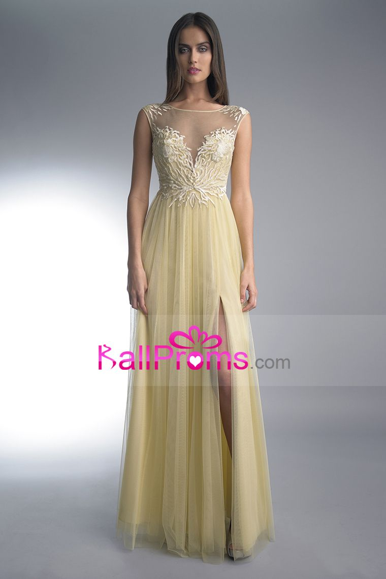 2015 A Line Prom Dresses Bateau Tulle With Slit And Applique Floor Length