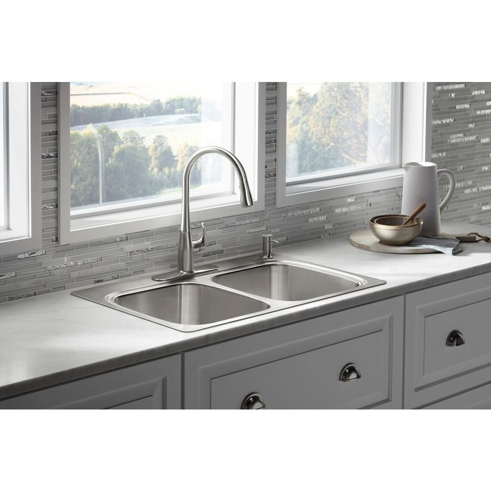 13259ceb02 KOHLER Verse Top Mount Stainless Steel 33 in. 4-Hole Double Bowl Kitchen  Sink-K-RH5267-4-NA - The Home Depot