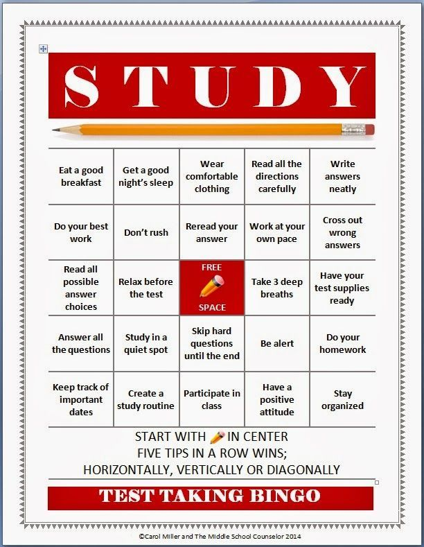 The Middle School Counselor Test Taking and Study Skills Bingo – Study Skills Worksheet