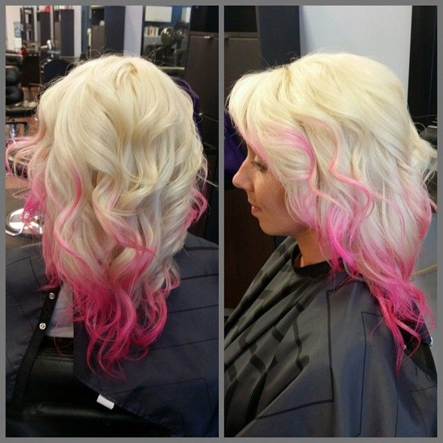 Hot Pink Hair Ombré And Highlights On Platinum Blonde