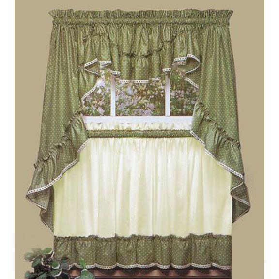 Sturbridge Sage Ruffled Print Tier Curtain Tier Curtains
