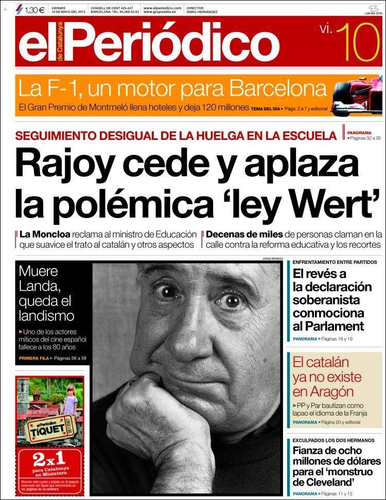 Los Titulares y Portadas de Noticias Destacadas Españolas del 10 de Mayo de 2013 del Diario El Periódico ¿Que le parecio esta Portada de este Diario Español?