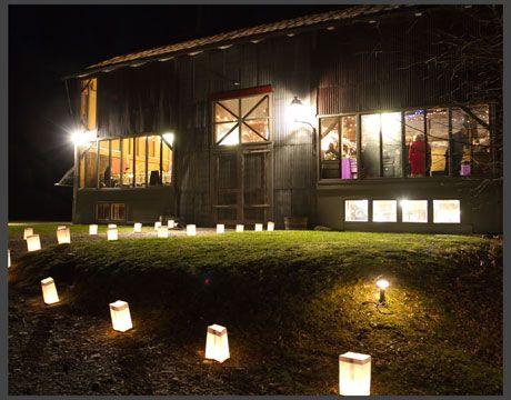 The barn is magical at night! #Lights #BarnWedding