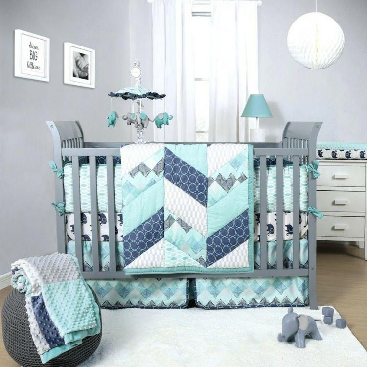 Babyzimmer Junge Mint Grau Blau Weiß Teppich Wandfarbe