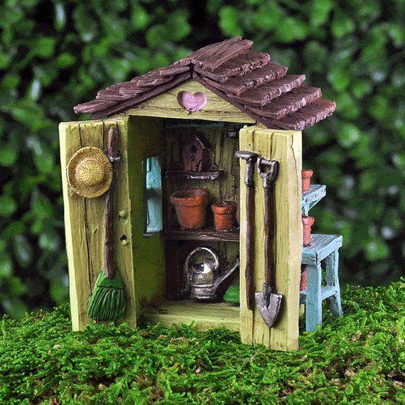 Mini Garden Shed  Miniature Fairy Garden Supply is part of Mini garden Furniture - 2  H x 3  W x 2  DCan be used for indoor or outdoor displays Material Resin