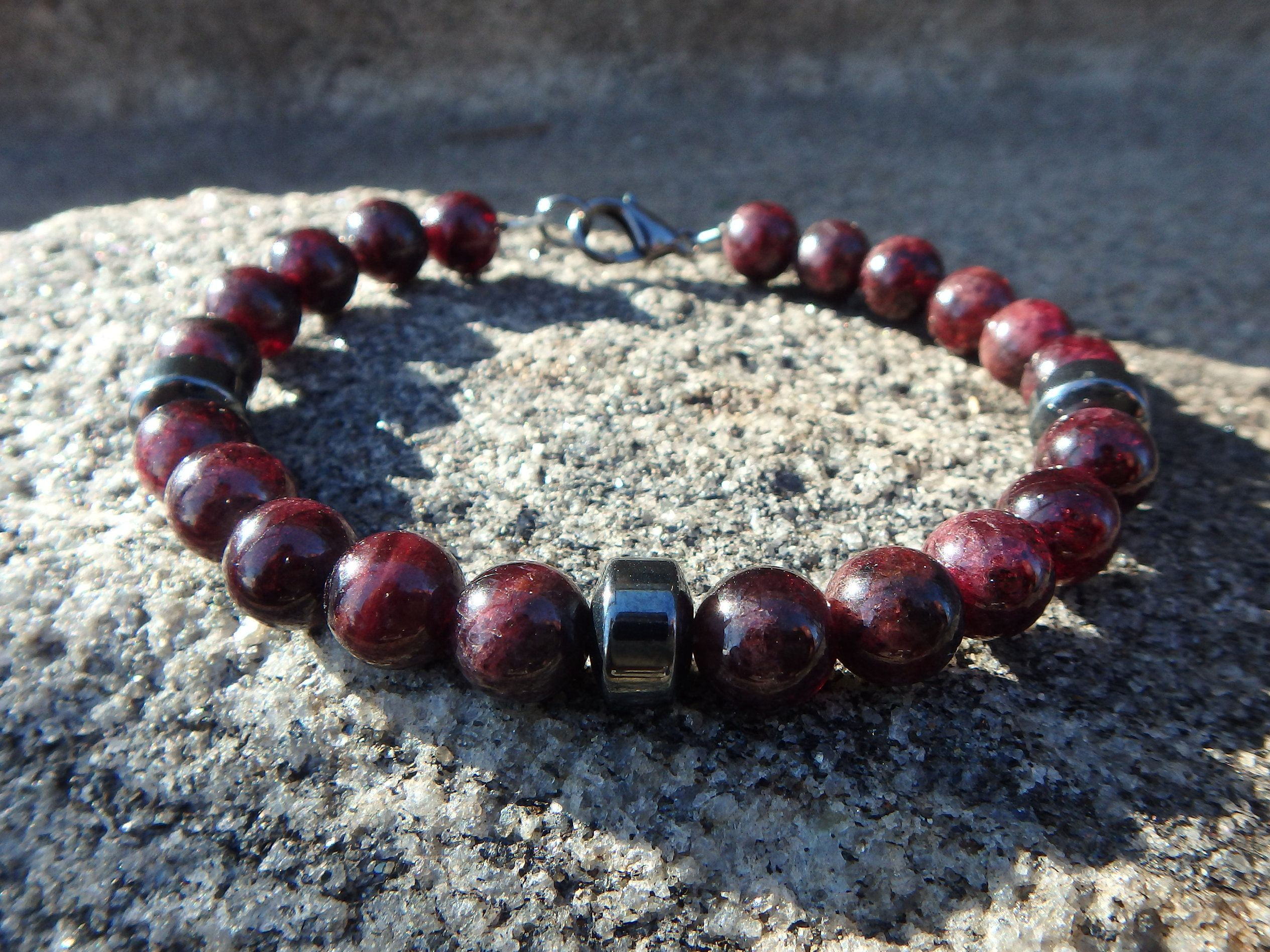 bracelet shipping free product today overstock pangea red brown rhodonite mines garnet watches jewelry rhodolite