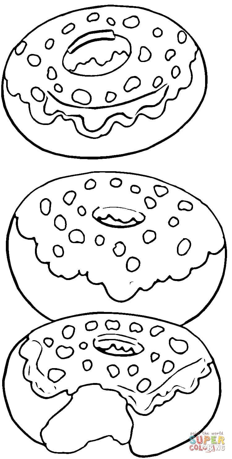 Tasty Donuts Super Coloring Food Coloring Pages Donut