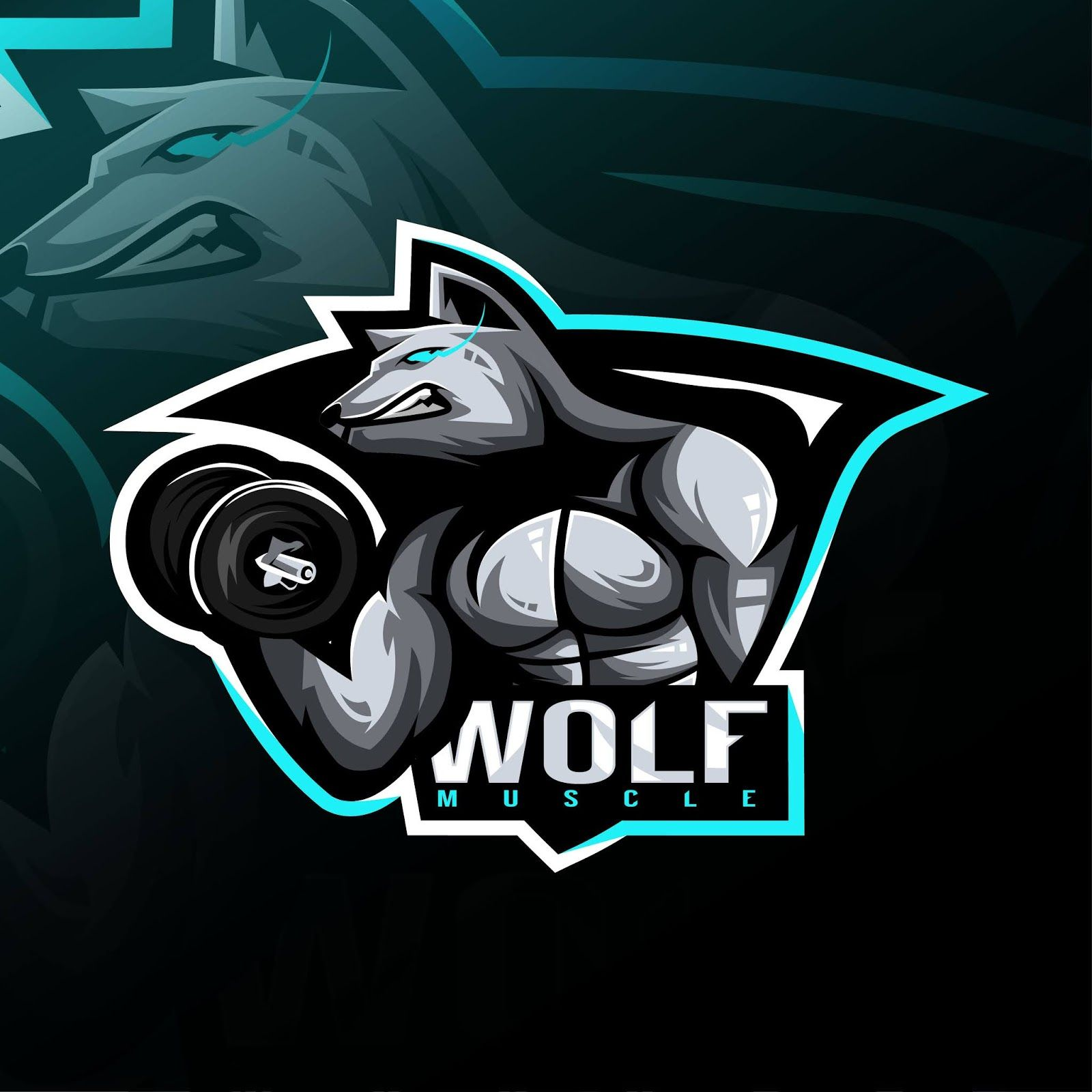 Wolf Fitness Mascot Logo Esport Design Logo Design Cartoon Logo Business Logo