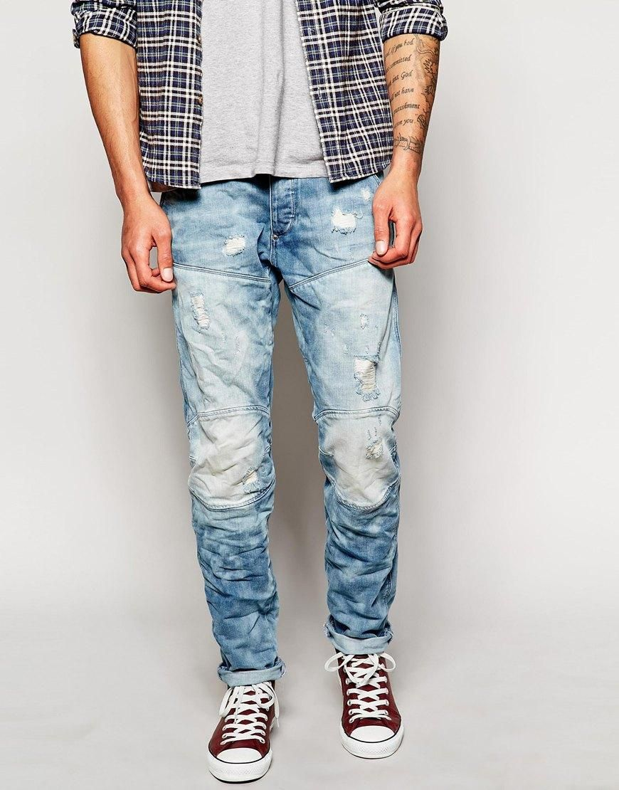 c481dc8a620 G-Star | G Star Tapered Slim Light Aged Distressed Wash Jean at ASOS ...