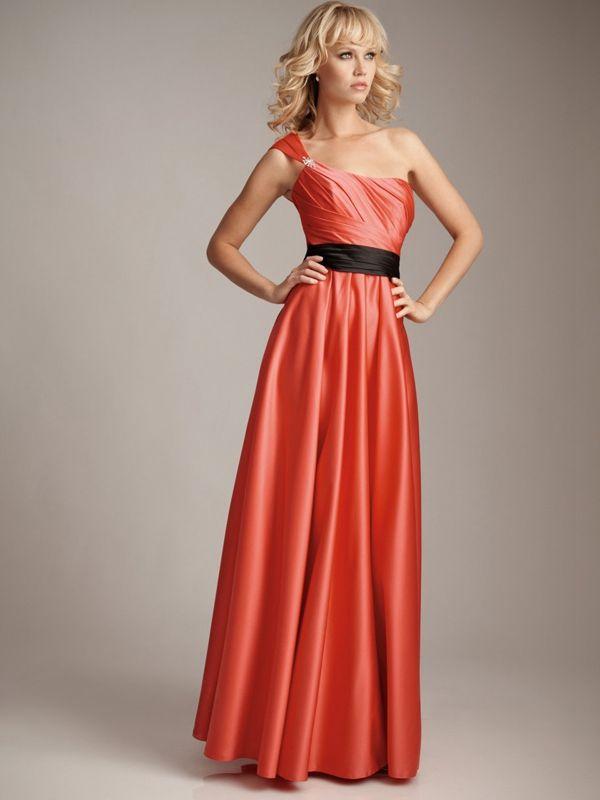 Cheap One Shoulder Orange Long Prom Dresses Under 100 Orange