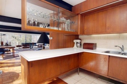 Mid Century Kitchen Maybe Teak Nice Lines Built 1960 Architect